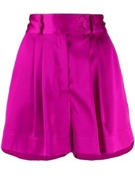 Styland pleated wide-leg shorts - Purple