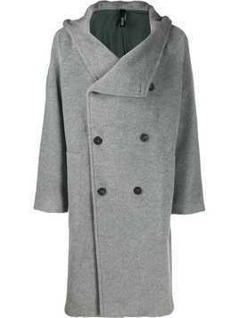 Hevo Salve hooded double-breasted coat - Grey