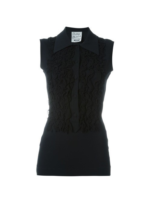 Moschino Pre-Owned frill detail top - Black