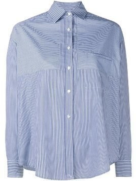 Vince Stripe Convertible Long Sleeve Shirt - Blue