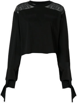 Kendall+Kylie round neck longsleeved raw edge top - Black