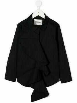 Touriste draped-detail shirt - Black