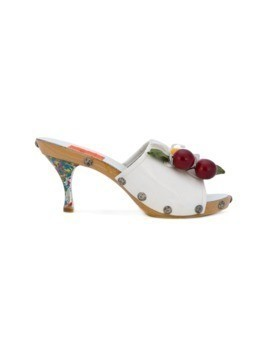 Christian Lacroix Vintage Summer daisy&cherry mules - White