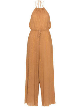 A Peace Treaty Sola halterneck lurex cotton blend jumpsuit - Yellow & Orange