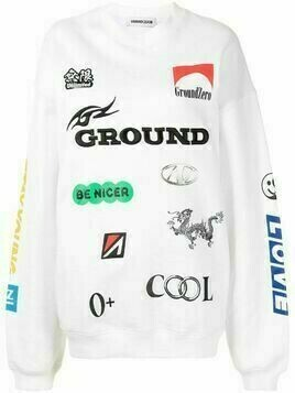 Ground Zero logo print sweater - White