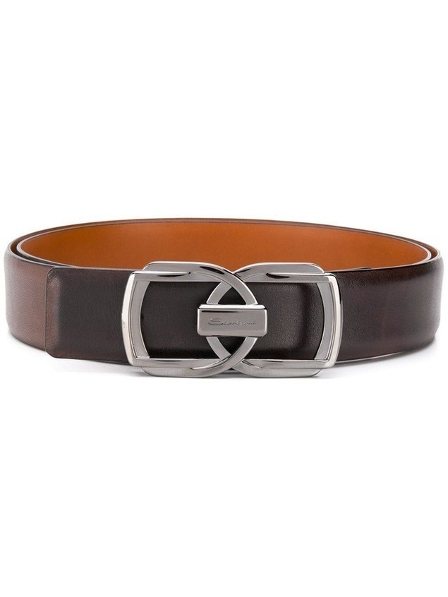Santoni double buckle belt - Brown