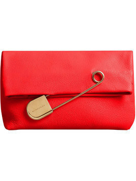 Burberry The Medium Pin Clutch in Leather - Red