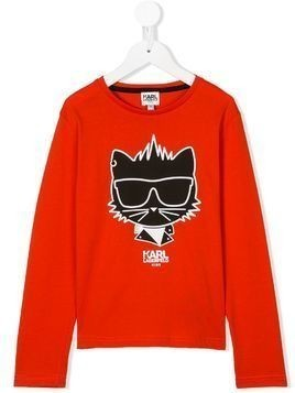 Karl Lagerfeld Kids cat logo print T-shirt - Red