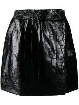 Brognano crocodile effect mini skirt - Black