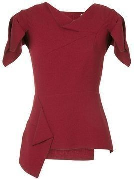 Roland Mouret deconstructed short-sleeve top - Red