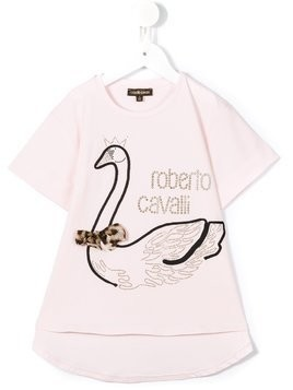Roberto Cavalli Kids studded swan T-shirt - Pink & Purple