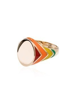 Alison Lou striped signet ring - Multicoloured