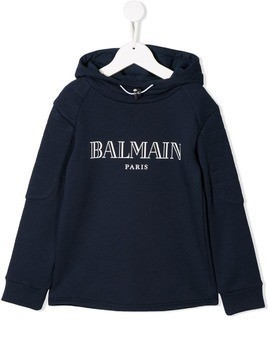 Balmain Kids hooded logo sweatshirt - Blue