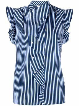 Derek Lam 10 Crosby draped detail striped shirt - Blue