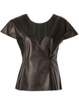 Drome cap sleeved leather top - Black