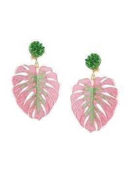 Mercedes Salazar Tropics Palm oversized earrings - Pink