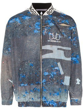 Duo logo band print bomber jacket - Blue