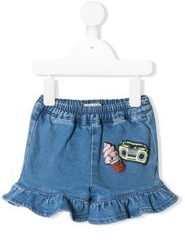 Kenzo Kids cartoon jean shorts - Blue