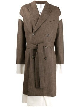 Hed Mayner layered double-breasted coat - Brown