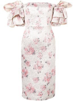 Alexa Chung floral puff-sleeve dress - Silver