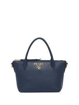 Prada double handle leather tote bag - Blue