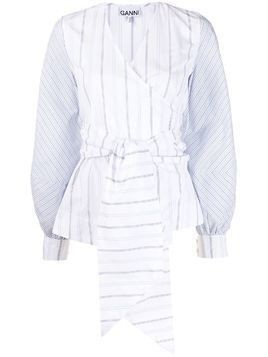GANNI long-sleeved pinstriped wrap blouse - White