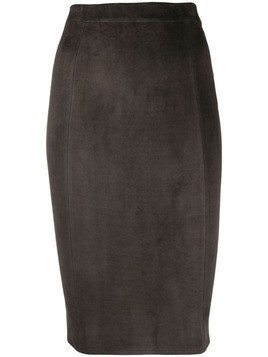 Incentive! Cashmere fitted midi suede skirt - Grey