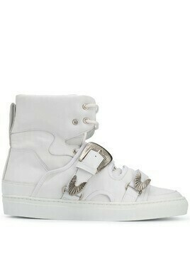 Toga Virilis buckled strap high-top sneakers - White