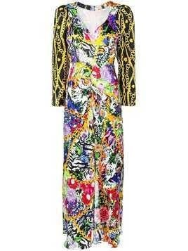 Rixo floral-and-chain print long dress - Multicolour