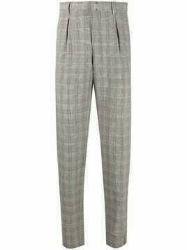 Incotex check-print tapered-fit trousers - Grey