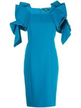Badgley Mischka ruffled shoulders fitted dress - Blue