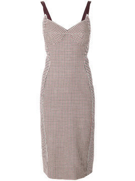 Stella McCartney panelled check and houndstooth dress - Red