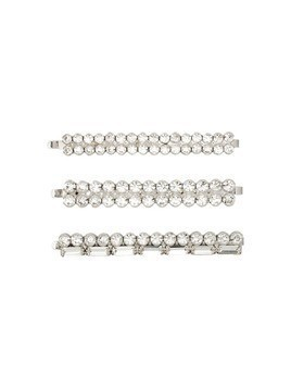 Alessandra Rich double row crystal hair slides (set of 3) - Metallic