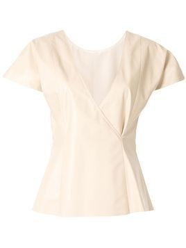 Drome cap sleeve leather top - NEUTRALS
