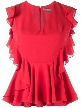 Alexander McQueen ruffle-trimmed sleeveless blouse - Red