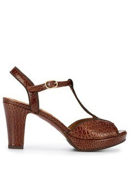 Chie Mihara texture block heel sandals - Brown