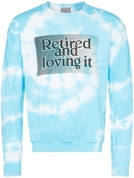 Ashley Williams Retired and loving it tie dye cotton sweatshirt - Blue