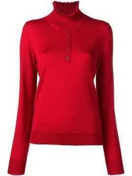 Carven ruffled neck jumper - Red