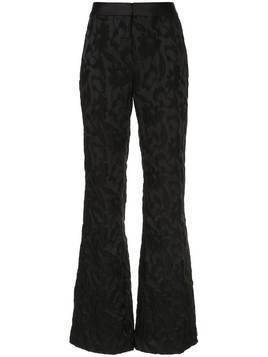Alexis floral-brocade flared trousers - Black