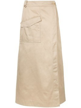 Nehera wrap front long skirt - NEUTRALS