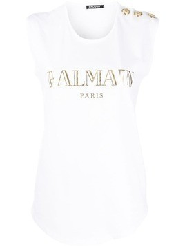 Balmain buttoned shoulders sleeveless logo top - White