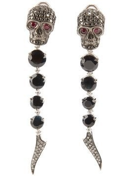 Gavello sapphire, diamond and ruby skull head earrings - Black