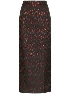 Attico high waist rose jacquard midi skirt - Black