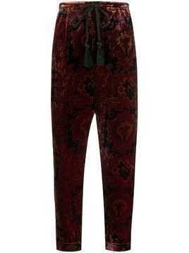 Mes Demoiselles Milo velvet cropped trousers - Red