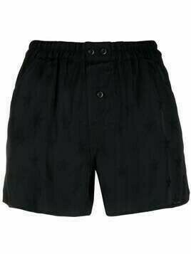 Laneus jacquard star elasticated shorts - Black