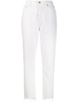 Grlfrnd frayed hem straight jeans - White