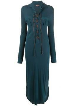Romeo Gigli Pre-Owned 1990s lace-up shirt dress - Blue
