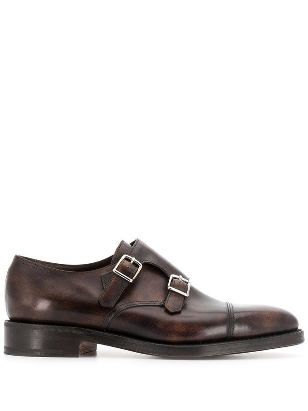 John Lobb buckle monk shoes - Brown