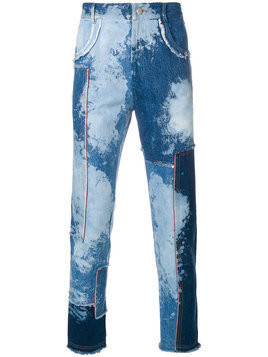 Damir Doma denim patchwork raw edge jeans - Blue