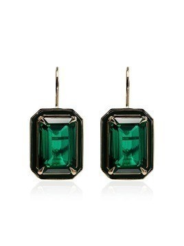 Alison Lou 14kt gold emerald earrings - Green